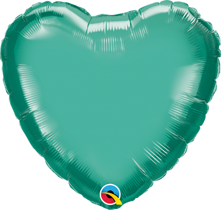 Heart Shaped Green Chrome Foil Helium Balloon